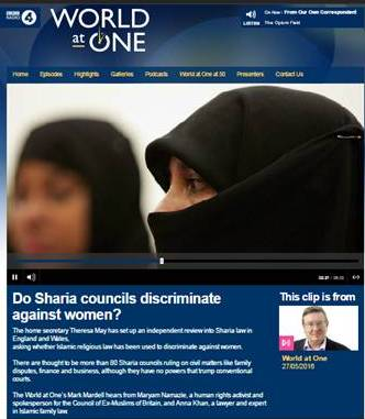 Do Sharia councils discriminate against women? BBC World At One, 27 May 2016