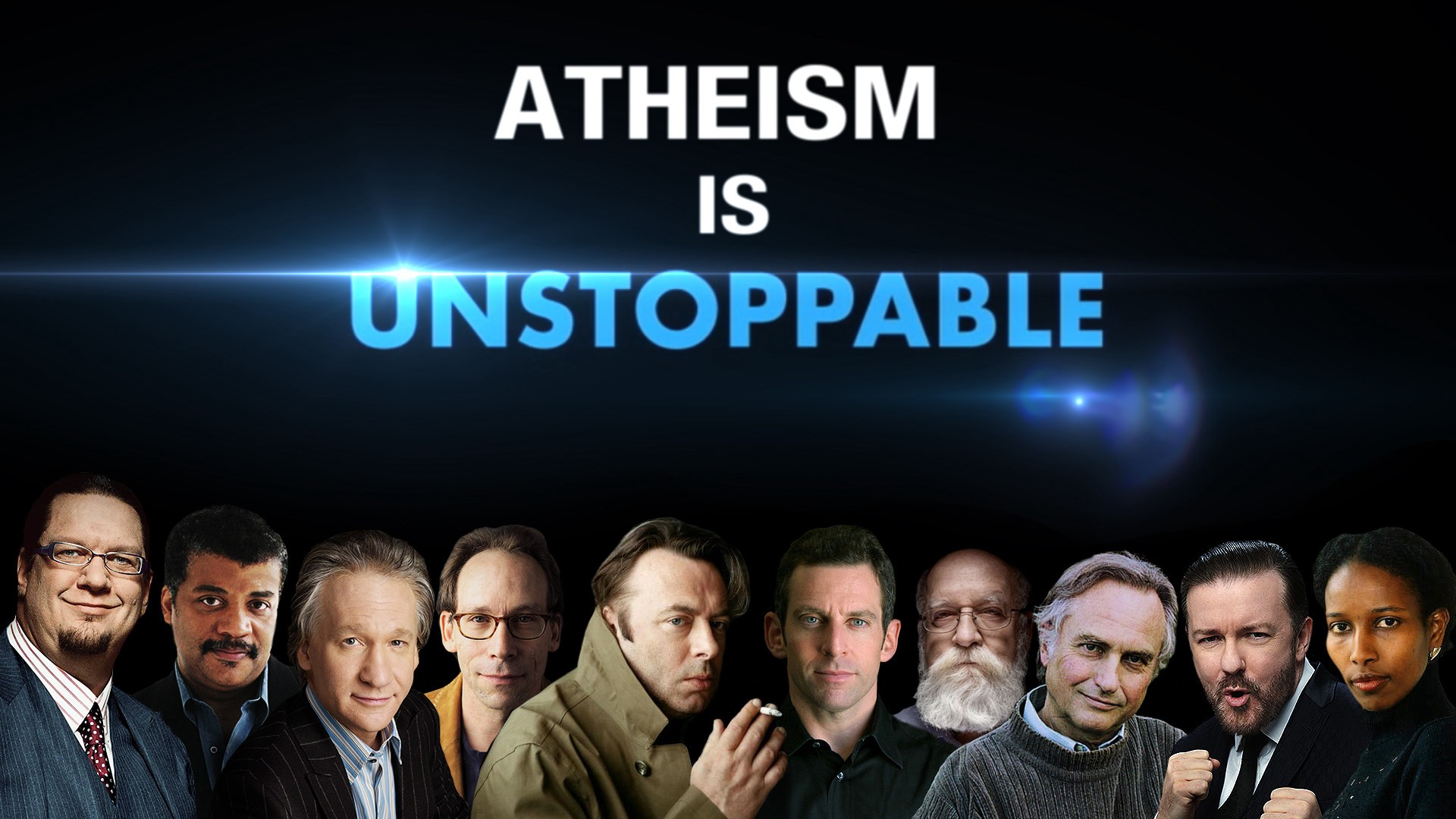poster with famous atheists