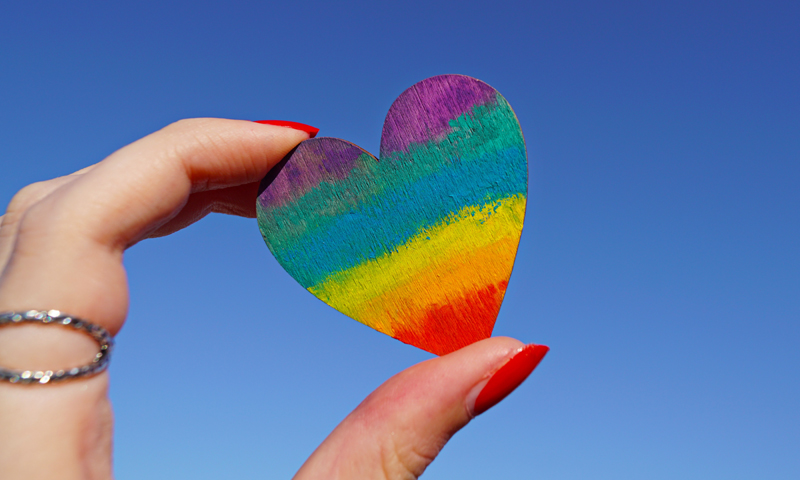 Wooden rainbow heart cutout