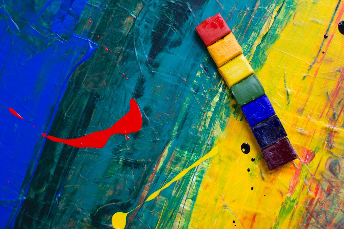 Poto of blocks of paint in rainbow colours