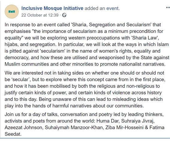 Screenshot of Inclusive Mosque event notice