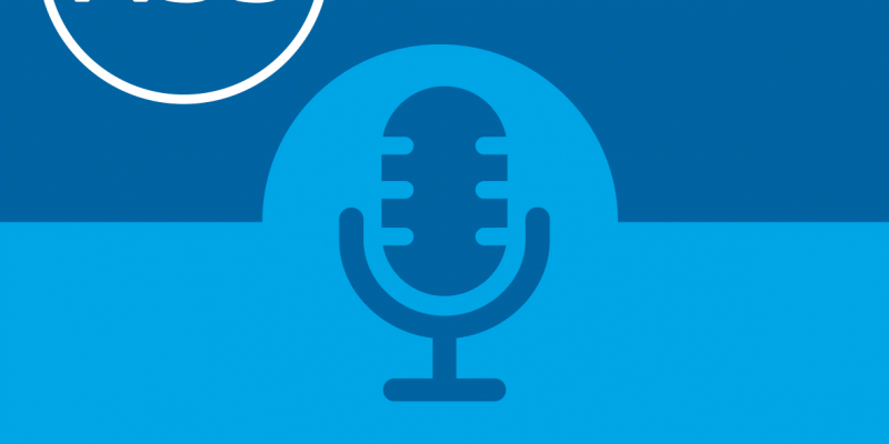 Microphone Icon on blue background