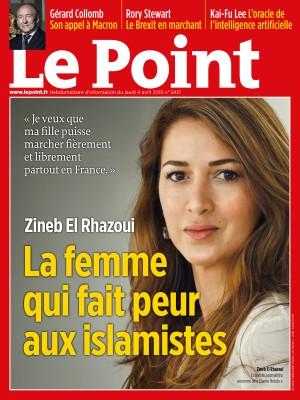 cover of le point magazine titled la femme qui fait peur aux islamistes