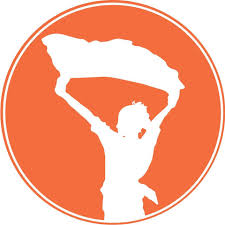Orange Circle with a white silhouette of a woman holding a scarf above her head