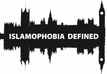 silhouette of houses of parliament captioned Islamophobia defined