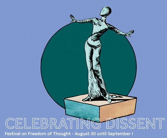 Award statue with Celebrating Dissent festival on freedom of thought text